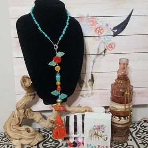 NEW! CCD HAND MADE TURQUOISE TASSEL NECKLACE!